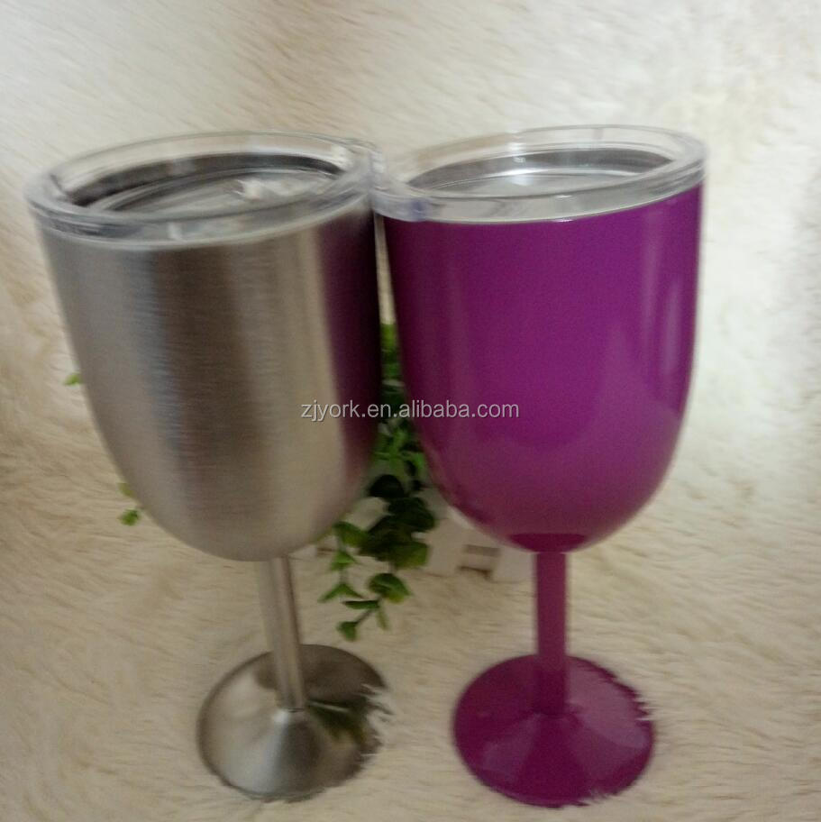Wine glass tumbler 10oz double wall 18/8 stainless steel insulated drinking cup