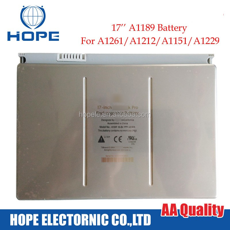 Original & New Quality A1189 Battery For Apple Macbook Pro 17'' A1261 A1212 A1151 A1229 Battery 10.8v 68Wh Late 2008 MA611 MA092