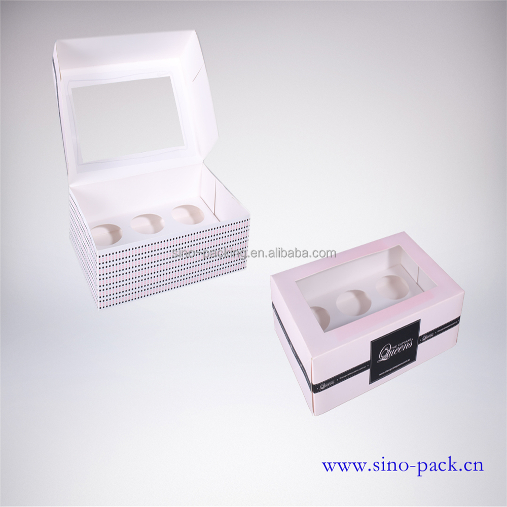 Eco-friendly paper cupcake packaging box art paper 6 cupcake box