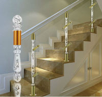 Clear plastic arcylic stair handrail /crystal clear stair baluster/luxury hotel indoor clear crystal stair handrail