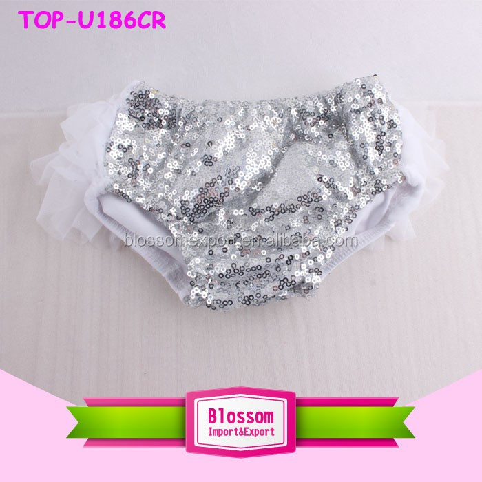 Mutil-Colors Shiny Sparkle Birthday Baby Sequin Shorts Wholesale Girls Boutique Toddler Sequin Bloomers with Chiffon Ruffle
