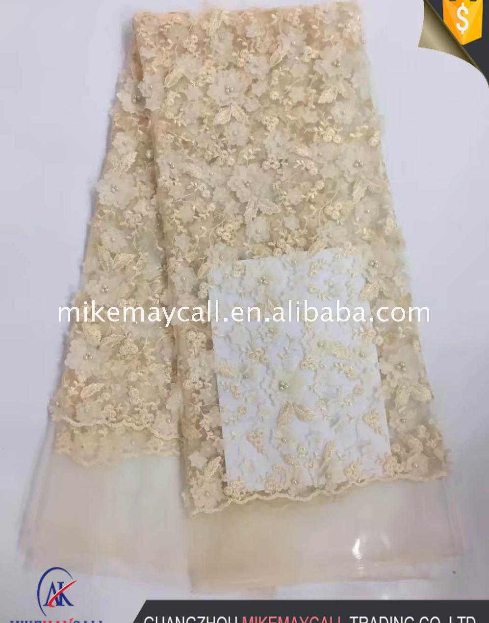 African French Tulle Net Lace Fabric 2017 3d flower embroidery lace Embroidered For Sewing Nigerian Wedding Women
