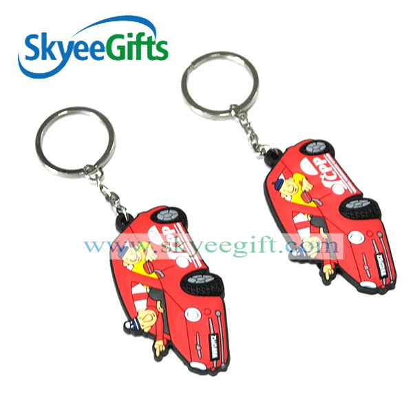 Wholesale Cheap Customized red car shaped PVC keychains