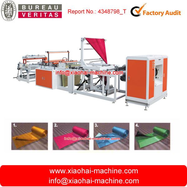 Automatic high speed computer controlled disposable poly plastic roll garbage bag making machine