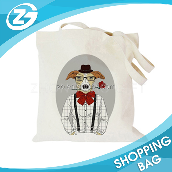 Recycling High Quality Cute Animals Shopping Travel Custom Printing Cotton Tote Bag