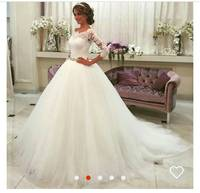 White A Line Long Sleeve Lace Applique Ball Gown Wedding Dress Vestidos De Novia MEK01 Custom Made Free Shipping Wedding Dress