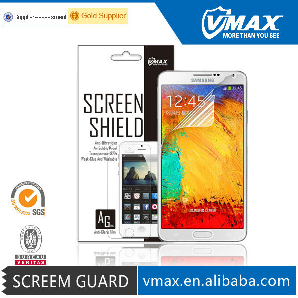 Vmax Brand mobile phone samsung screen protector for Samsung galaxy note 3 / N9000 screen protector