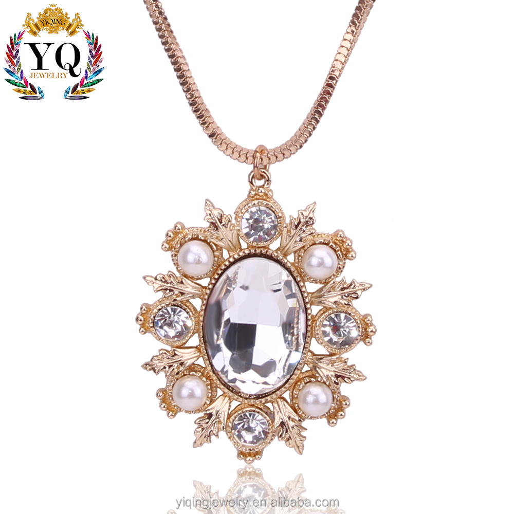 PYQ-00139 latest 2017 elegant luxury flower with leaf pattern golden alloy crystal pearl decorated pendant necklace