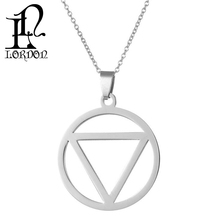 Wholesale stainless steel hip-hop style silver round triangle pendants necklace