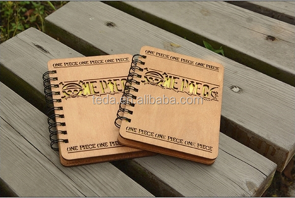 beautiful girl design wood cover laser cut notebook gift
