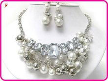2012 new design luxury pearl chain necklace sets(A107693)