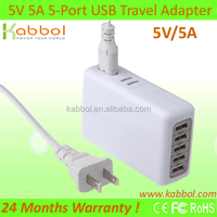 Kabbol 25W 5A/5V 4 USB Port Travel Power Adapter Wall Charger (Us Plug) for Apple Iphone 5s, 5c, 5, 4s, Ipad Air, Mini, Galaxy S