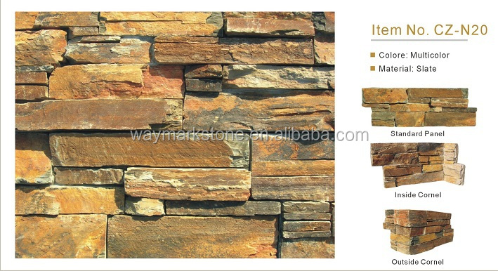 Multicolor Slate Cement Back Panels for Wall Cladding