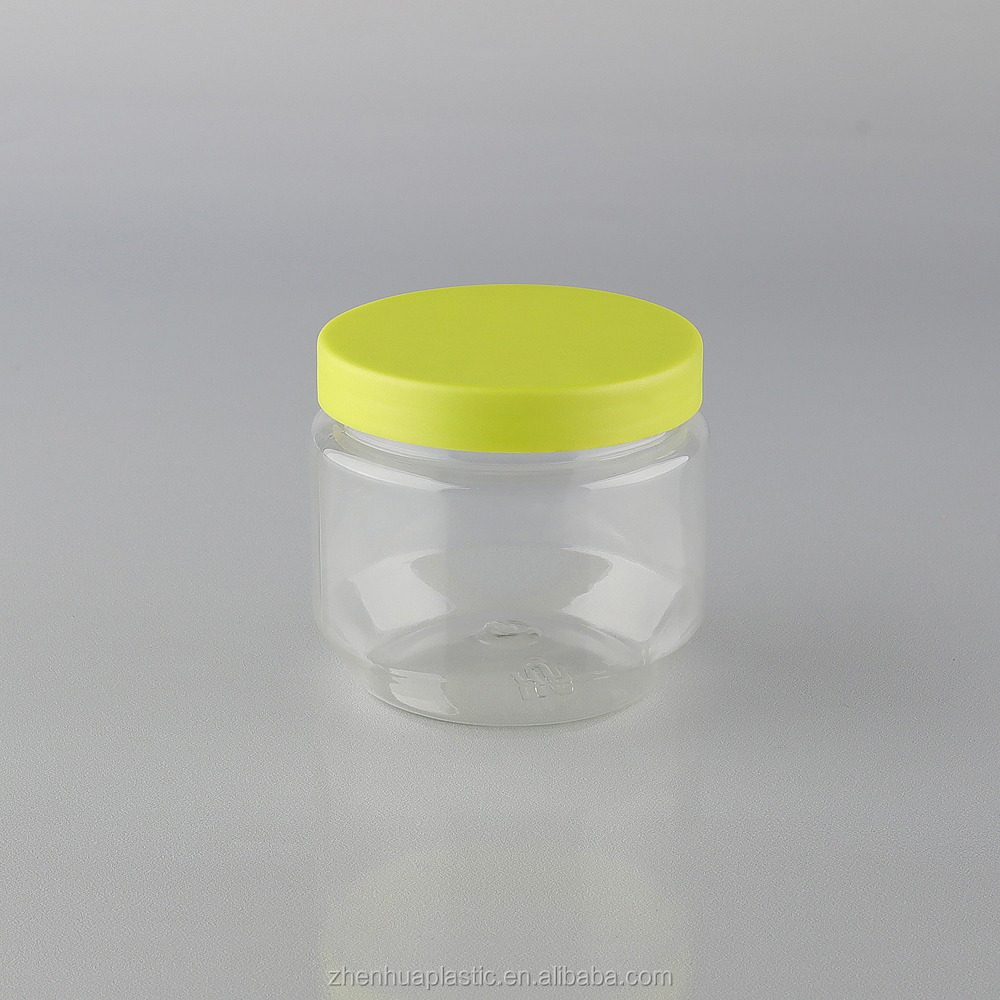 Custom PET plastic candy food Jar 200ml storage bottle with colored screw Lid