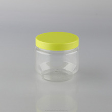 custom 200ml PET plastic candy Jar/storage bottle with colored screw Lid