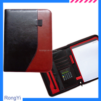 PU leather A4 portfolio bag with calculator,leather portfolio,zipper portfolio