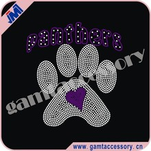 Panthers paw with heart Rhinestone Iron On Transfers