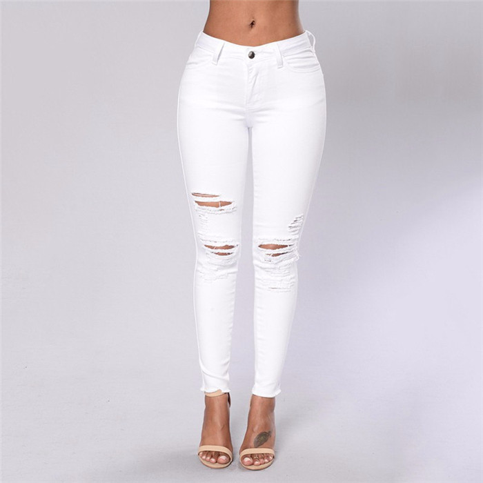 OEM white ripped skinny women jeans high strench pencil lady outdoor pants