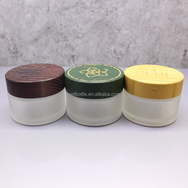 1oz 2oz glass frost glass jar with wood cap for face cream glass bottle
