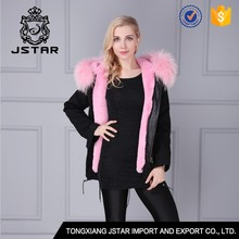 Short style faux fur lining winter coat with raccoon fur collar women jacket supplier