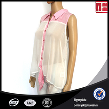 Chiffon women sleeveless blouse designs for office