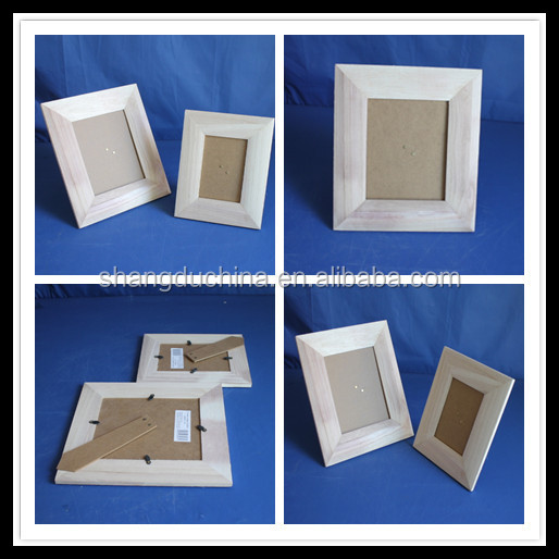 2015 Family customized high quality Plain square 3R paulownia wood photo frame for kids
