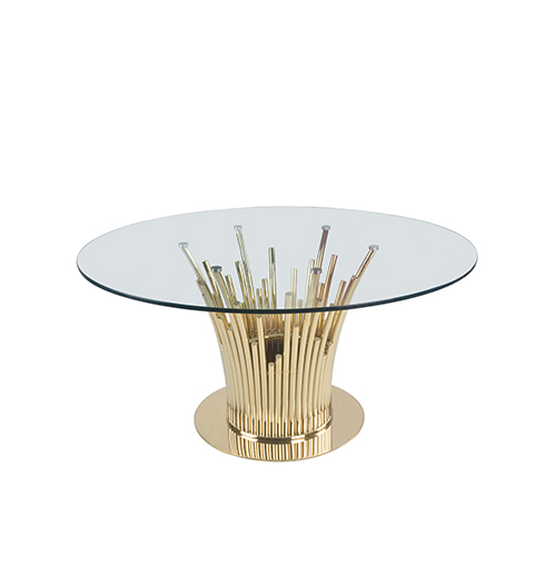 stainless steel dinning table with golden decoration