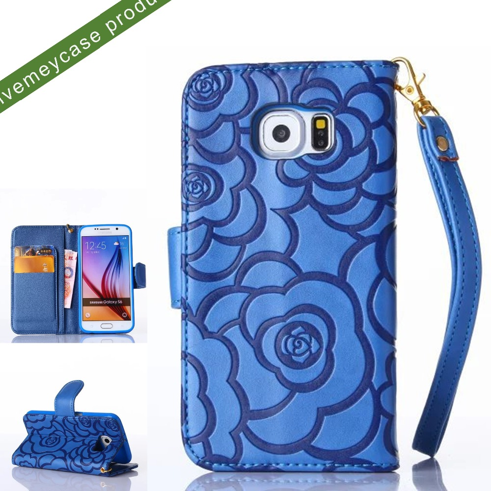 hot embossed camellia flower pattern magnetic closure folio tpu pu leather wallet phone case with bracelet card holder slot