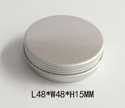 R1838H Manufacturers customized round cosmetics aluminum tin with screw lid silver rouge box portable soap aluminum cans