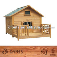 Outdoor Bitumen Roof Wooden Dog House With Balcony DFD004