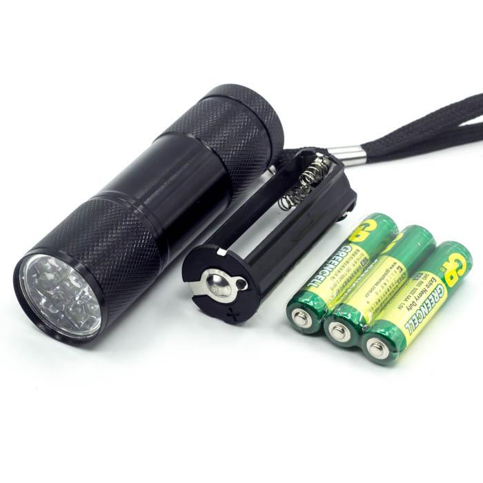 395 nm 9 led uv lampe de poche lampe de poche led id de. Black Bedroom Furniture Sets. Home Design Ideas