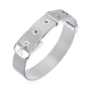 Wholesale fashion watchband design Belt shape silver plated Couple bracelet