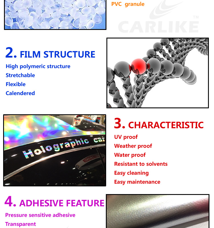 CARLIKE Laser Chrome Holographic Rainbow Color Vinyl Film Wrap Car Sticker