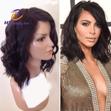 10''-18'' Natural wave Peruvian virgin hair lace front wigs short bob human hair full lace human hair wigs for black women