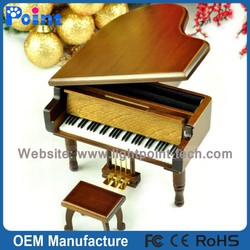 Wooden piano antique music box birthday gift romantic music box from Sankyo Musical Movement