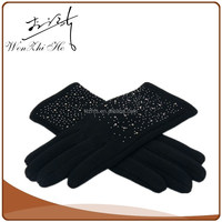 China Factory Women Micro Fashion Velvet Gloves With Nails