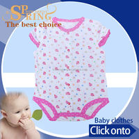 2015 fashion certified organic cotton fabric 1 year old baby clothes BB053