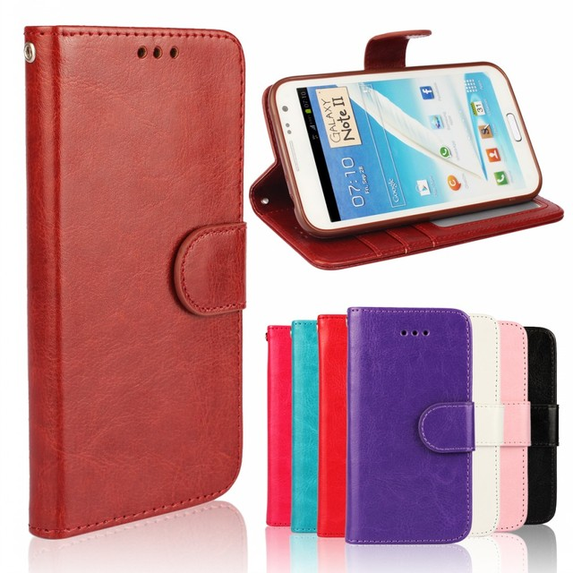 Mobile Phone Etui Fundas Hoesje Coque Crazy Horse Wallet PU Leather Case Cover for Samsung Galaxy Note 2 3 4 TPU Silicone Shell
