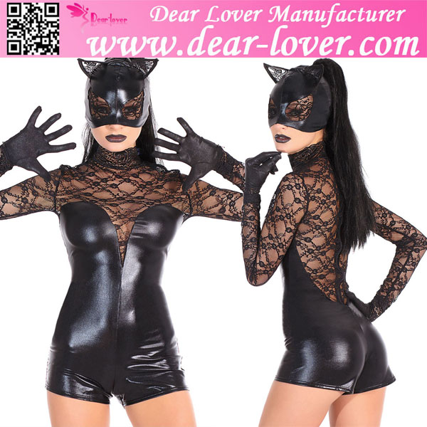 Fantastic 2015 sexy see through Lace Cat fancy dress costumes wholesalers