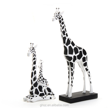 customizing hand paint black and white spots resin giraffe figurines