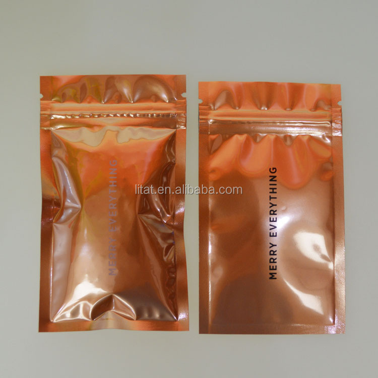 Aluminum material gift plastic packaging bag with zipper