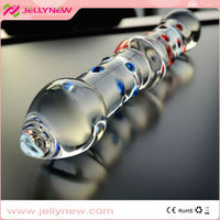 JNG048 studded and poignant heated cheap glass penis dildo