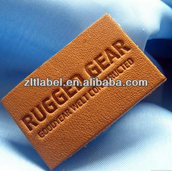 custom design embossed garments leather back patch labels
