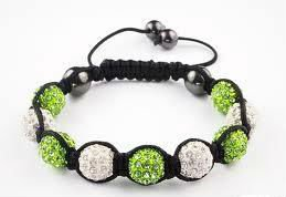 Shamballa Wales UK Bracelets CZ Diamonds Cheap Bling Clay Disco Balls Jewelry Girls Wholesale Bulk light green & white