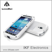 Hot selling original Lovemei metal aluminum silicon case cover for Samsung Galaxy S4 with gorilla glass screen protector