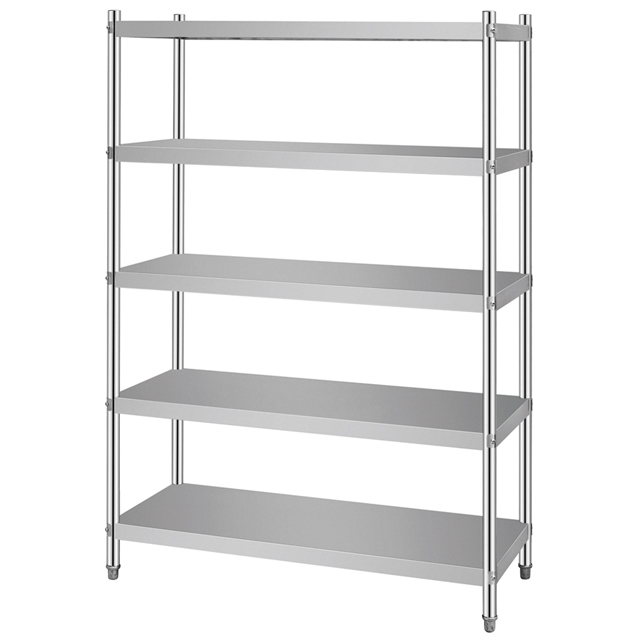 Stainless Steel 5 Shelves Shelving <strong>Rack</strong> With Solid Plate and Level Legs