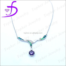 Main stone amethyst opal necklace factory price in 925 silver