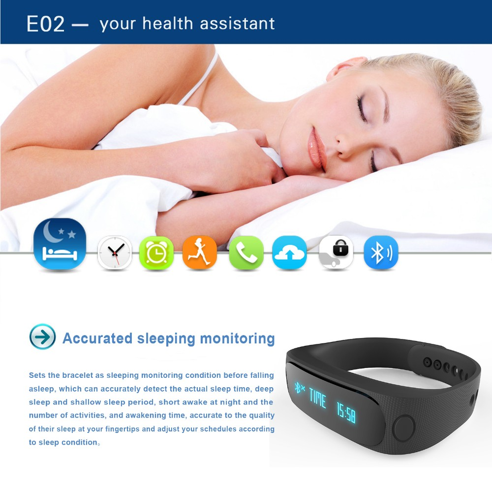 IP67 waterproof bluetooth 4.0 vibrating E02 smart bracelet for ios