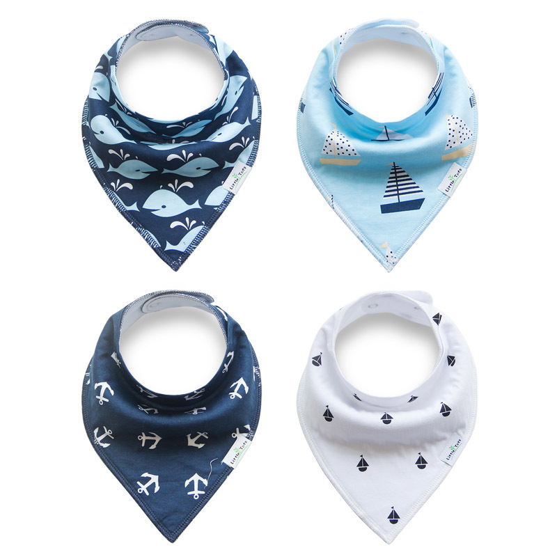 Custom wholesale 2017 10-pack absorbent organic 100% cotton printed baby bandana drool bibs for children girl toddler