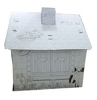 Foldable cardboard dog indoor house with chimney